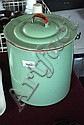 Large, pale green, enamel kitchen lidded storage
