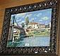 Well framed oleograph of a European bridge scene