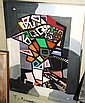 George Edmond Finey oil on board, cubist scene,