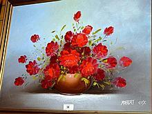 Robert Cox, oil on board, still life, flowers in a