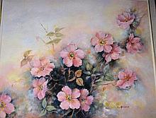 Joy McCance, oil on board, floral still life,