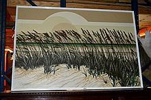 Letterman, acrylic on canvas, grasses amongst sand