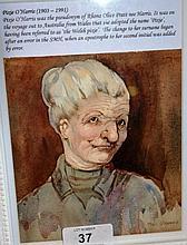 Pixie O'Harris, watercolour, portrait of an
