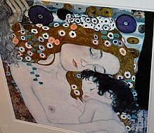 Gustav Klimt, print 'Mother & Child' 59 x 59cm