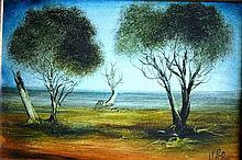 Pro Hart, oil on board, bush landscape, signed 30