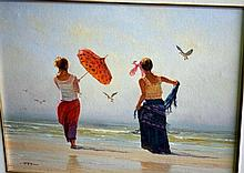 Robert Hagan, oil on canvas board, 2 women on a
