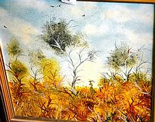 Janet Cahill?, oil on board, bush scene, lady with