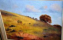 Warwick Fuller, oil on board 'Sheep grazing in the