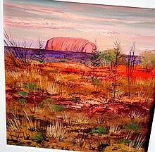 Colleen Parker, oil on board, 'Uluru Landscape'