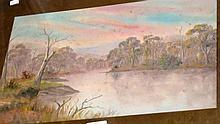 Artist unknown, early oil on card, Australian