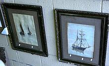 RW Liddell - 2 watercolours, ships at sail, one