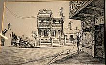Kevin Oxley, ink drawing, 'Sunday, Paddington'