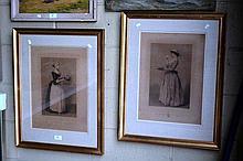 Pair of antique French engravings, 'La Belle