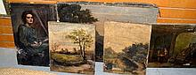 Series of antique oil paintings on canvas, all