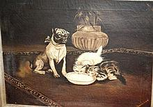 N. O'Sullivan, oil on canvas of a dog & kittens &