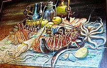 Rouchon, oil on canvas, still life of sea food on