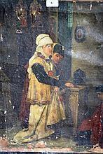 Very early European oil on canvas 'Church interior