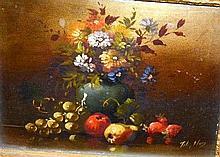 Artist unknown, early still life, oil on board,