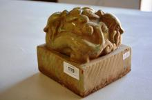 Large Chinese celadron glazed pottery chop, base carved with seal characters, 13cm x 1.3cm x 13cm H