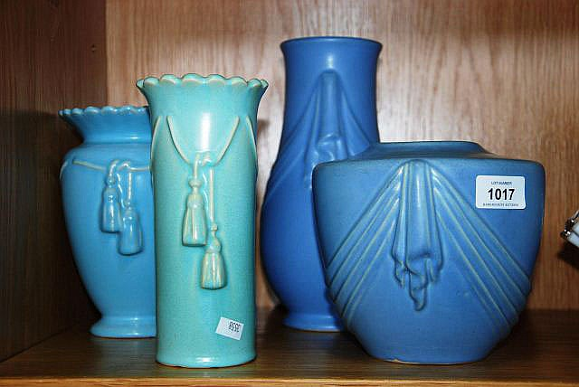 4 various American pottery vases by Weller pottery