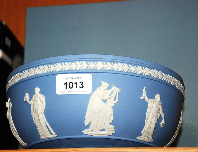 A Wedgwood blue and white Jasperware fruit bowl,