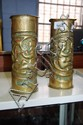 Good pair of WWI trench art vases made from old
