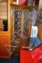 An oak lead glazed corner cabinet, approx. 1.7m