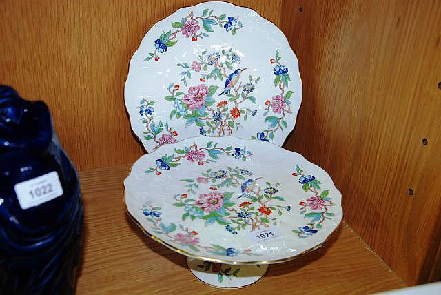 Aynsley raised cake stand and plate.
