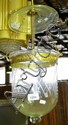 A vintage etched glass hanging hall light with