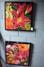 Pair of textured floral prints, 59 x 59cm
