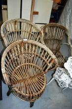 3 vintage split cane conservatory chairs, matching