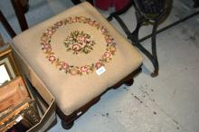 Tapestry upholstered step stool on cabriolet legs