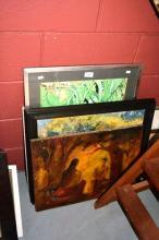 4 various artworks incl. landscape & caricature