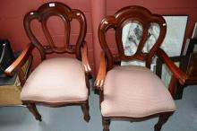 Pair of antique style carvers, one AF