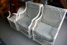 3 piece white painted cane conservatory setting