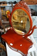 Serpentine fronted toilet mirror with trinket