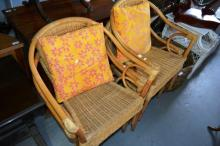 4 cane conservatory style arm chairs with 2