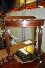 2 items: an Art Deco wall mirror, frameless with a