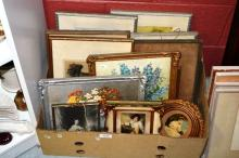 Boxed lot of assorted artworks, prints & pictures