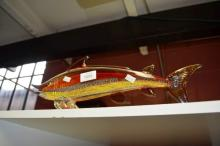 Studio glass model of a fish, multi coloured with