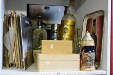 Shelf: Barware, whisky bottle, soda syphon,