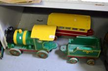 Vintage hand made painted wooden model train,