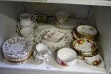 Shelf: Royal Albert pieces incl. milk jugs, sugar