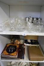 2 x shelves: crystal & steel glassware etc incl.