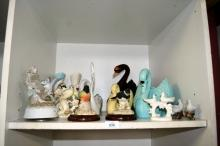 Shelf: ornamental birds, various makers incl.
