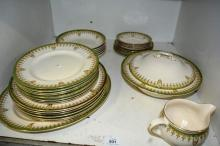 Shelf: qty of Royal Doulton 'Tivoli' dinner ware,