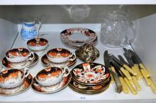 4 antique cups & saucers - Imari pattern,