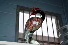 Art glass model of a water bird, multi coloured,