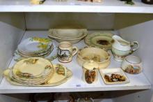 Shelf: Royal Doulton, vintage china incl. sandwich