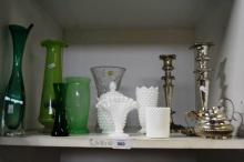 Shelf: assorted glass & silver plate incl. candle